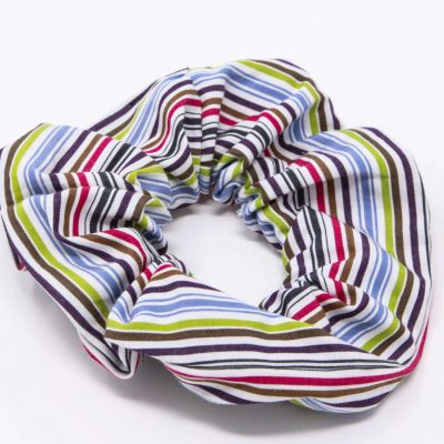 Chouchou chemise rayée multicolore Bérénice upcycling