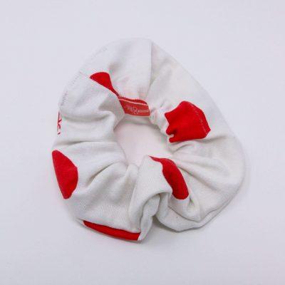 Chouchou bonnet à cœurs Bérénice upcycling
