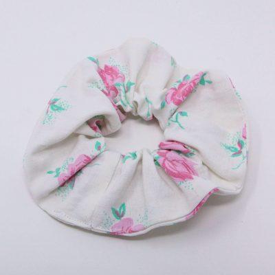 Chouchou drap à motifs rose Bérénice upcycling