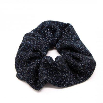 Chouchou pull noir paillettes argentées Bérénice upcycling