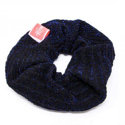 Chouchou pull noir paillettes bleues Bérénice upcycling