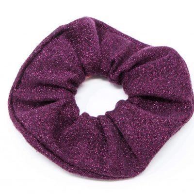 Chouchou pull violet à paillettes Bérénice upcycling