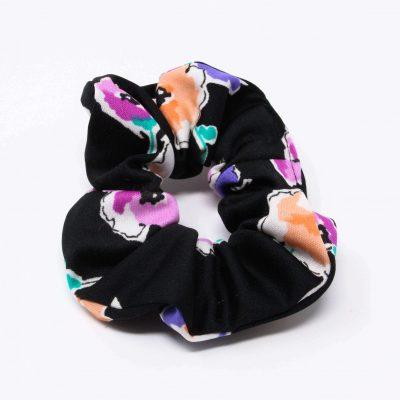 Chouchou robe noire à fleurs Bérénice upcycling