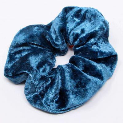 Chouchou top velours bleu azur Bérénice upcycling