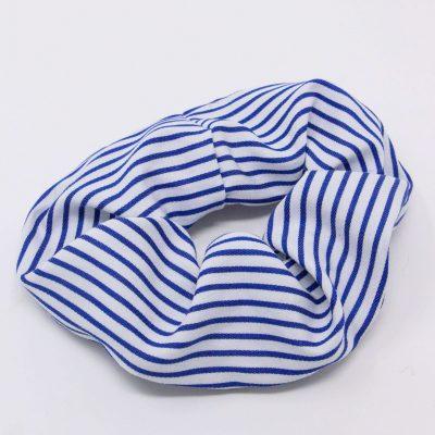 Chouchou chemise rayée bleue Bérénice upcycling