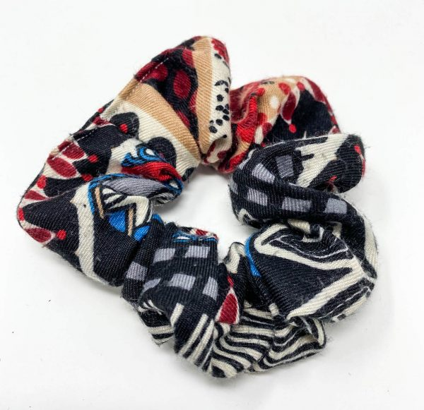 Chouchou écharpe rouge à motifs Bérénice upcycling
