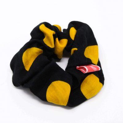 Chouchou robe à pois jaunes