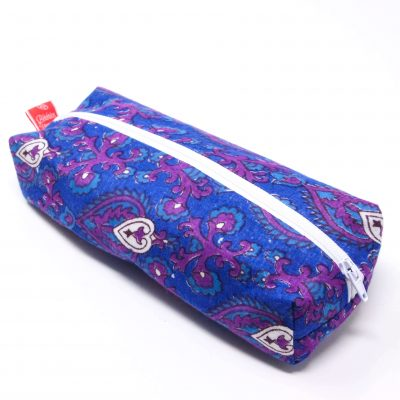 Trousse carrée foulard violet Bérénice upcycling global