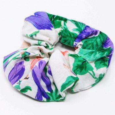 Chouchou pantalon grandes fleurs Bérénice upcycling