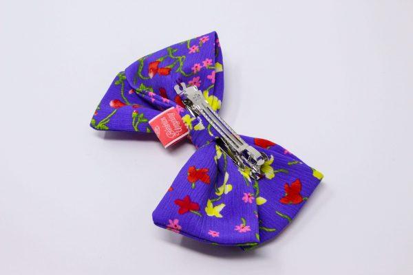 barrette gros noeud Bérénice upcycling robe violette verso